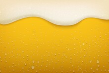 Beer Foam. Realistic Craft Beer Bubbles Condensate And Flowing Foam, Beer Festival And Party Poster Background. Vector Brewery Flyer