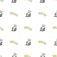 Hand Drawn Cute Animals. Seamless Pattern. Panda, Cupcake With Candle. Hello. White Background. Vector.