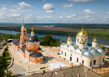 Picturesque Architectural Ensemble Of Old Orthodox Nikitsky Monastery With Transfiguration Cathedral And Nikitsky Church In Kashira, Russia..