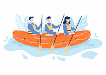 Rafting Background Flat Cartoon Vector Illustration With People Do Activity Water Sports In The Middle Of The Lake, Canoeing, Sitting In Boat And Holding Paddles