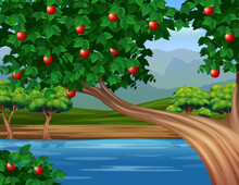 Illustration Of An Apple Tree By The River