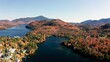 Aerial view of Beautiful Lake Placid Park and Mountains during fall