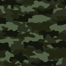 Black Camouflage. Vector Pattern. Potter For Clothes.