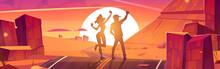 Tourists Enjoy Sunset, Happy Man And Woman Silhouettes On Scenery Rocky Desert Landscape Rejoice On Empty Highway Going Into Dusk Sun. Travel Adventure, Freedom, Journey Cartoon Vector Illustration