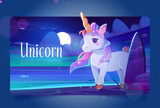 Cute unicorn at night ocean shore cartoon landing page, little baby pony with horn and rainbow mane stand on sea beach under dark starry sky with moon. Magic fantasy horse character Vector web banner