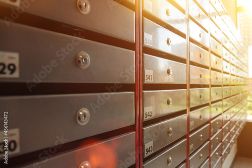 Fotografie, Obraz Steel Mailboxes in an apartment residential building