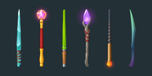 Set Of Magic Wands, Wizard Or Witch Sticks With Glowing Gems, Frozen Ice Crystal, Pink Glass Star And Green Twisted Rod. Rpg Fantasy Game Assets, Magician Fairy Tale Staff, Cartoon Vector Illustration