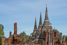 View To Wat Phra Si Sanphet Temple In Ayutthaya Historical Park And Temple Bricks Wall Ruins Remains, Ayutthaya, Thailand That The Destination Attractive Tourists Both Thai And Foreigners