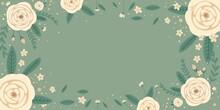 Frame With White Spring Roses