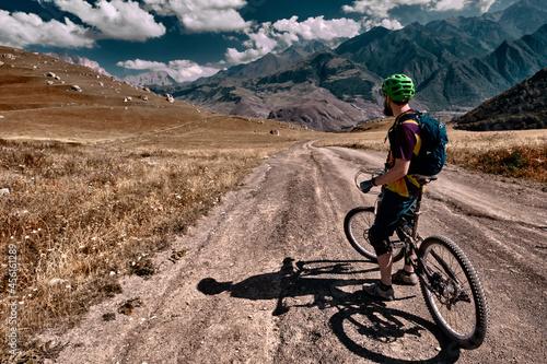 Fototapeta Mountain biking in Elbrus