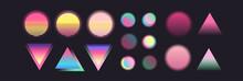 Vapor Wave Elements. Futurism Vector Art Set. Retrowave, Synthwave, Rave Party Collection. Retro, Vintage 80s, 90s Style. Black, Purple, Pink, Blue, Yellow Neon Colors. Print, Wallpaper, Web Template