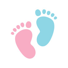 Pink And Blue Baby Footprint Icon Set Vector. Baby Footprint Silhouette Icon Isolated On A White Background. Imprint Of Two Human Feet Clip Art