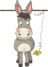 Cute Gray Donkey Looking At A Little Yellow Mouse