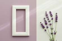 Mockup With White Frame On Lilac Background Next To Bunch Of  Lavender On White Background.