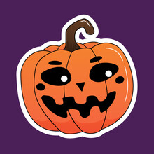 Pumpkin With A Funny Muzzle Sticker. Vector Illustration.