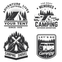Set Of Camping Badges, Patches. Vector Illustration. Concept For Shirt Or Logo, Print, Stamp Or Tee. Vintage Typography Design With Camping Equipment, Forest, Camper Rv And Mountain Silhouette