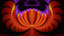 3d Effect - Abstract Red Purple Fractal Pattern