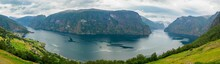 Aurlandsfjord Seen From Stegastein Overlook Road, The West Norwegian Fjords, Norway