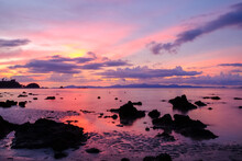 Tropical Beach Seaside At Ko Phayam Island Of Ranong On Sunrise Or Sunset Time, Sea Of Thailand