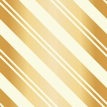 Golden Christmas Seamless Vector Pattern. Gold Foil Effect Candy Cane Striped Background. Elegant Diagonal Stripes Backdrop. Linear Geometric Repeat For Festive, Celebration Gift Wrap, Packaging