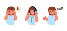 The Girl Cant Hear Anything.The Child Is Wearing Headphones And Make A Hearing Test.Hearing Exam For Children.