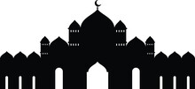 Black And White Silhouettes Of Mosque