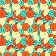 Pattern Fruits Kiwi Orange Lemon  Lie On Top Of Each Other