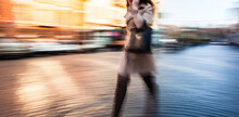 Abstract Image Of People In The Street In Motion Blur