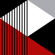 Geometric Pattern Illustration With Stripes, Rhombus And Triangles In Red, Grey, Black And White Colors