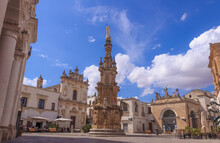 View Of The Historic Centre Of Nardò In Apulia, Italy: Salandra Square. In The Middle Of The Square Stands The Guglia Dell'Immacolata (Immaculate Steeple).