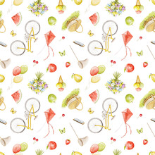 Seamless Pattern With Bright Summer Various Objects Isolated On White Background. Watercolor Hand Drawn Illustration Sketch