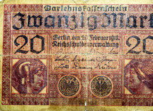 Large Fragment Of The Obverse Side Of 20 Twenty German Marks Banknote Currency Issued 1918 By Germany Reichsschuldenverwaltung In Berlin,   Note Features Minerva And Mercury