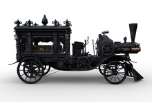 Side View 3D Rendering Of A Steampunk Halloween Concept Steam Powered Hearse Isolated On A White Background.