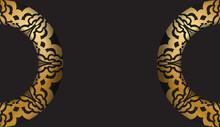 Dark Color Brochure With Gold Greek Ornament