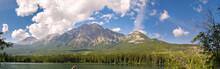 Landscape On Pyramid Lake In Jasper In Canada