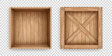 Open And Closed Containers Of Old Planks. Realistic Wooden Crates For Storage, Transportation And Delivery Design. Cargo Boxes Mockup Template.