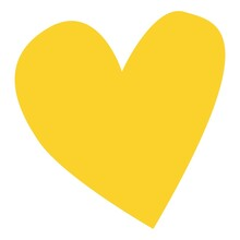 Hand Drawn Yellow Heart Shape Isolated On White. Graphic Design Decorative Element. Love And Romance. St Valentine's Day. For Post Cards, Posters, Prints, Textile, Wallpaper, Scrapbooking, Icons