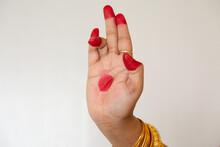 "Female Hand Demonstrating ""Tripataakam Hasta"" Depicting Three Parts Of A Flag Of Indian Classical  Dance Bharatanatyam"