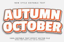 Autumn October Editable Text Effect Emboss Modern Style