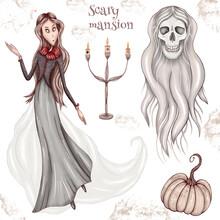 Scary Mansion Lady, Floating Skeleton, Spirits, Halloween Pumpkin, Dark Chandelier, Halloween Design Elements