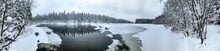 Giant Panorama Of Snow-covered Ice-river Among A Frozen Taiga Forest In A Winter