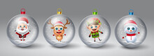 Christmas Crystal Ball Vector Set. Christmas Characters Like Santa Claus, Reindeer, Elf And Snow Man In Snow Globe Element For Xmas Hanging Decoration Design. Vector Illustration.