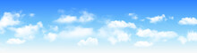 Sunny Day Background Panorama, Blue Sky With White Cumulus Clouds, Natural Summer Or Spring Background With Perfect Hot Day Weather, Vector Illustration.