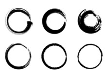 筆による丸い円形の和風素材セット