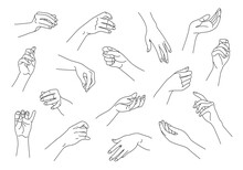 Collection Of Monochrome Woman Hands In Various Positions. Outline Female Hands Set. Black And White Vector Illustration.