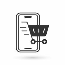 Grey Mobile Phone And Shopping Cart Icon Isolated On White Background. Online Buying Symbol. Supermarket Basket Symbol. Vector