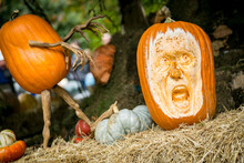 Carved Halloween Pumpkins With Scary Faces, New York City.