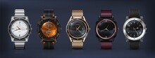 Realistic Wrist Watches. 3D Classic And Modern Business Watches With Chronograph, Metal And Leather Bracelet And Different Clockworks Faces. Vector Set