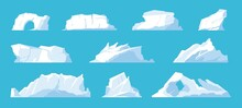 Icebergs. Arctic And North Pole Landscape Elements, Melting Ice Mountains And Glaciers, Snow Caps And Freeze Ocean. Vector Set