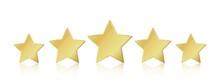 Five Gold Stars. 5 Star Rating Realistic Leadership Symbol. Glossy Yellow Metallic Winner Champion Rating. Vector Illustration